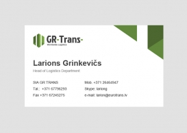 GR Trans business card